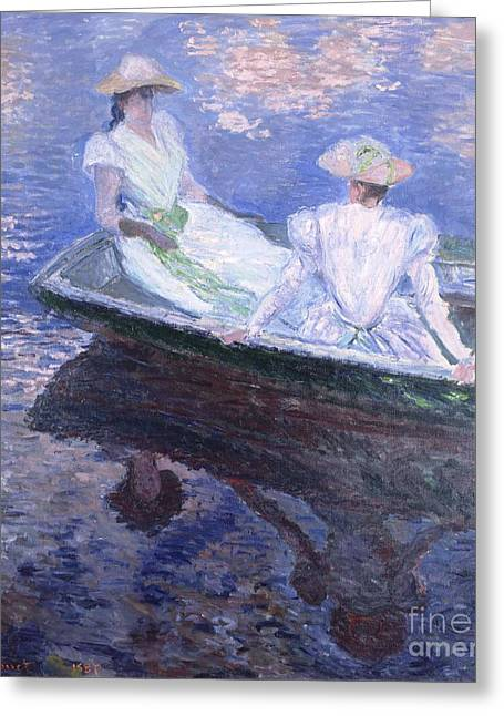 Monet Lady Greeting Cards - On the Boat Greeting Card by Pg Reproductions