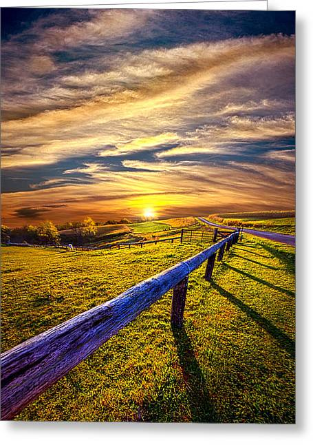 Fence Photographs Greeting Cards - On The Brighter Side Greeting Card by Phil Koch