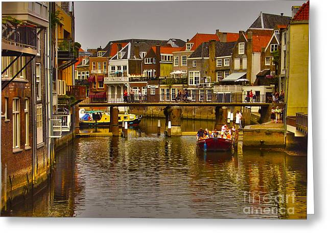 Boats In Harbor Greeting Cards - On the canals of Dordrecht Greeting Card by Claudia Mottram