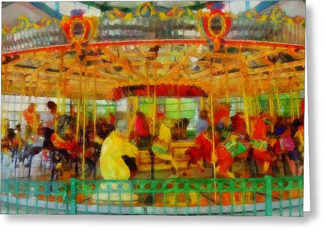 Horse Mixed Media Greeting Cards - On The Carousel Greeting Card by Dan Sproul