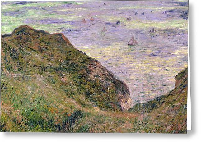 Sailing Ship Greeting Cards - On the cliff at Pourville Greeting Card by Claude Monet