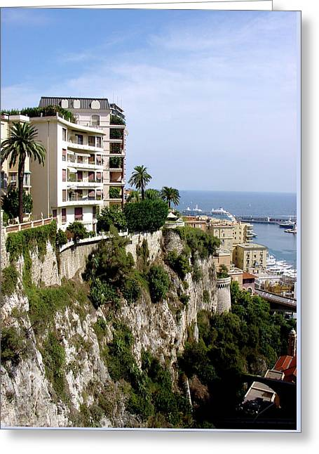 Cliff Dwellings Greeting Cards - On the Cliff in Monaco Greeting Card by Julie Palencia