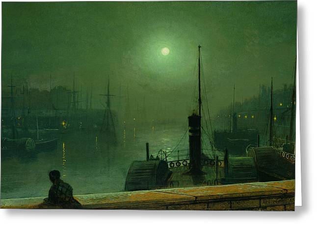 On The Clyde, Glasgow, 1879 Greeting Card by John Atkinson Grimshaw