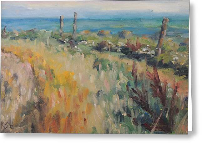 St Margaret Paintings Greeting Cards - On The Coastal Path Greeting Card by Karen Scannell