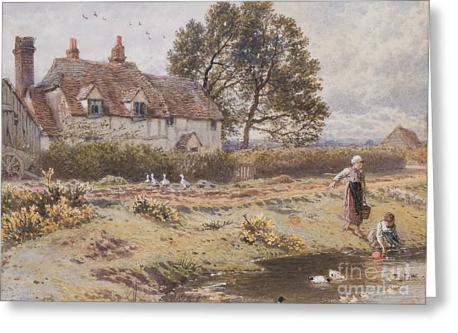Flower Setting Greeting Cards - On the Common Hambledon Surrey Greeting Card by Myles Birket Foster