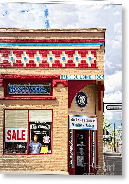 Fineartphotography Greeting Cards - On the Corner in Winslow Arizona Greeting Card by Lee Craig
