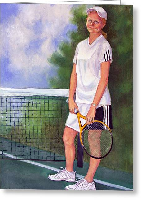 Racquet Paintings Greeting Cards - On the Court Greeting Card by Mary   Robinson