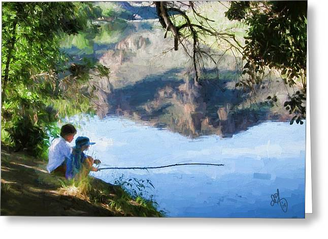 Fishing Creek Digital Art Greeting Cards - On The Creek Greeting Card by David Francey