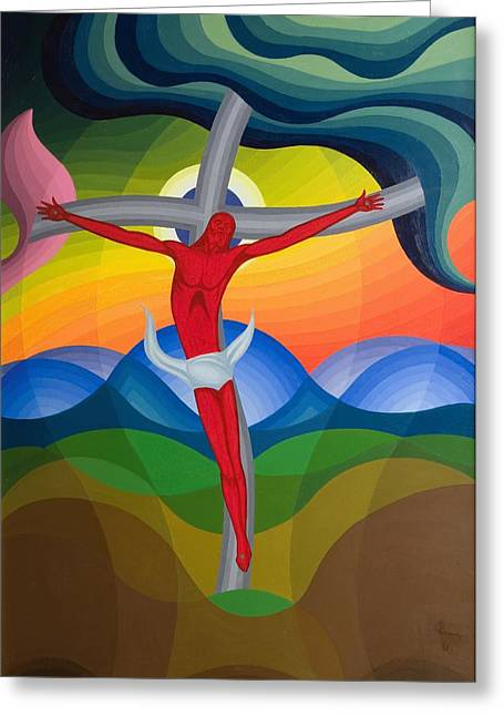 Suffering Paintings Greeting Cards - On the Cross Greeting Card by Emil Parrag