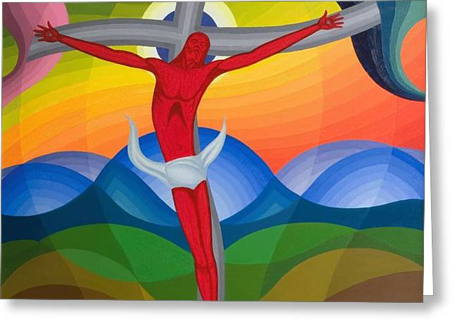 On the Cross Greeting Card by Emil Parrag