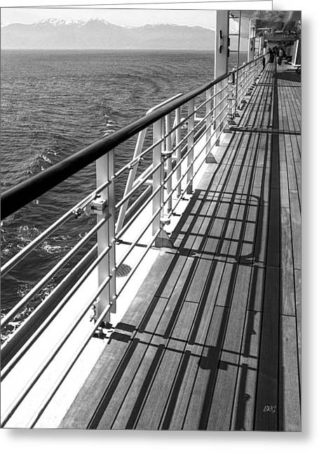 Wooden Ship Greeting Cards - On The Cruise Ship Deck Black And White Greeting Card by Ben and Raisa Gertsberg
