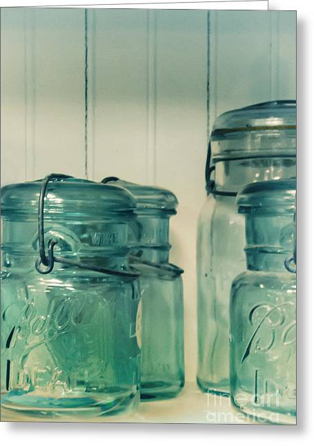 Ball Jars Greeting Cards - On the Cupboard Shelf Greeting Card by Margie Hurwich