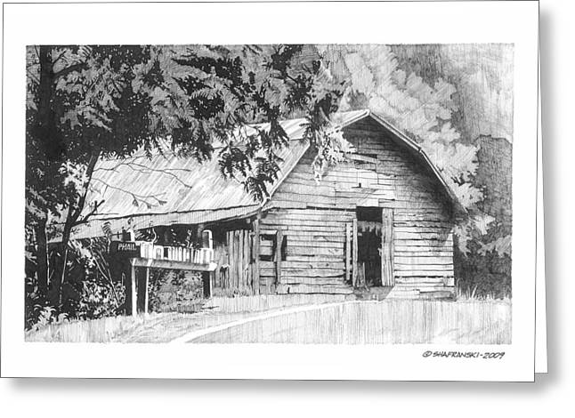 Barn Pen And Ink Greeting Cards - On the Curve Greeting Card by Paul Shafranski