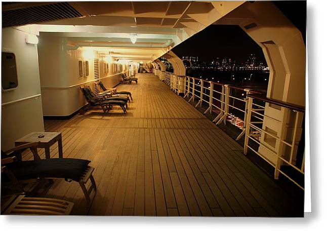 Chaise-lounge Photographs Greeting Cards - On the Deck of the SS Rotterdam - Netherlands Greeting Card by Mountain Dreams