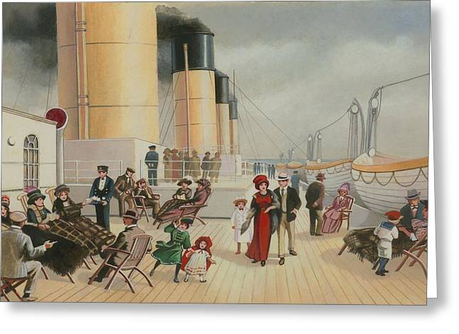 Star Line Greeting Cards - On The Deck Of The Titanic Greeting Card by English School