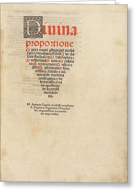 'on The Divine Proportion' (1509) Greeting Card by Library Of Congress