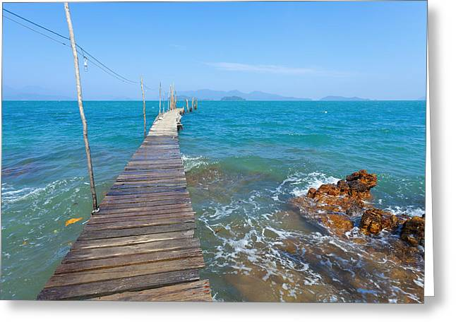 Sea Platform Greeting Cards - On the Dock Greeting Card by Alexey Stiop