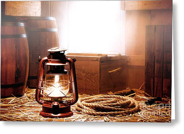Kerosene Lamp Greeting Cards - On the Dock Greeting Card by Olivier Le Queinec
