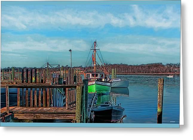Ocean Photos Digital Greeting Cards - On the Dockside Bristol Rhode Island Greeting Card by Tom Prendergast