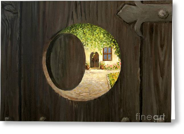 Religious Artwork Paintings Greeting Cards - On The Doorstep Greeting Card by Kiril Stanchev