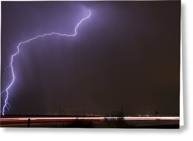 Arizona Lightning Greeting Cards - On The Edge Greeting Card by Cathy Franklin