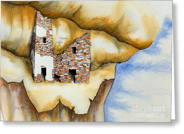Cliff Dwellings Greeting Cards - On The Edge Greeting Card by Jerry McElroy