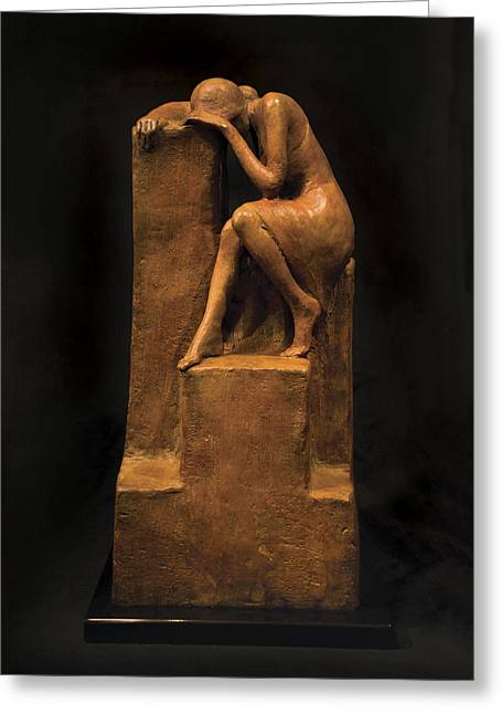 Woman Sculptures Sculptures Greeting Cards - On the Edge Greeting Card by Mary Buckman