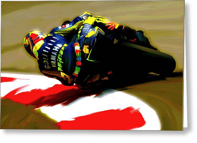 Smart Phone Greeting Cards - On The Edge Vi Valentino Rossi Greeting Card by Iconic Images Art Gallery David Pucciarelli