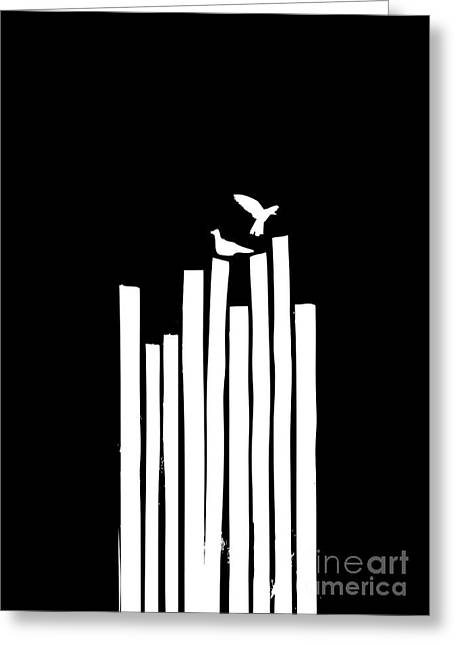Monochrome Greeting Cards - On the Fence Greeting Card by Budi Satria Kwan