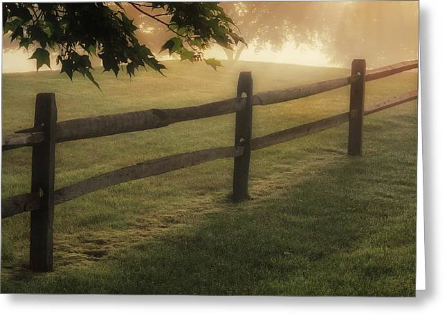 Sunrays Greeting Cards - On the fence Square Greeting Card by Bill  Wakeley