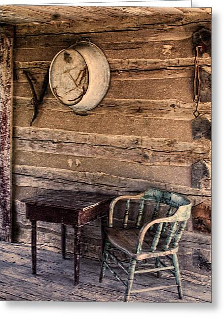 Wood Plank Flooring Greeting Cards - On The Front Porch Greeting Card by Linda Phelps