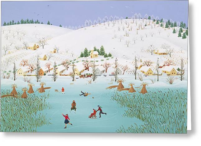 Sledge Greeting Cards - On The Frozen Lake, 1987 Greeting Card by Magdolna Ban