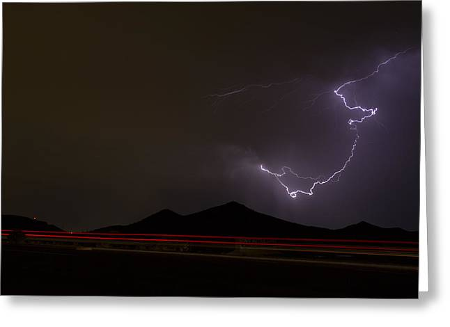 Arizona Lightning Greeting Cards - The Hitchhiker Greeting Card by Cathy Franklin