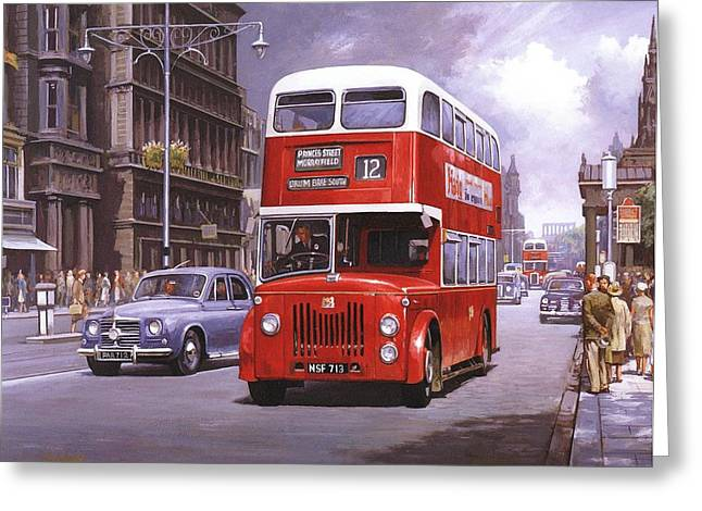 Streetscenes Paintings Greeting Cards - On the Golden Mile Greeting Card by Mike  Jeffries