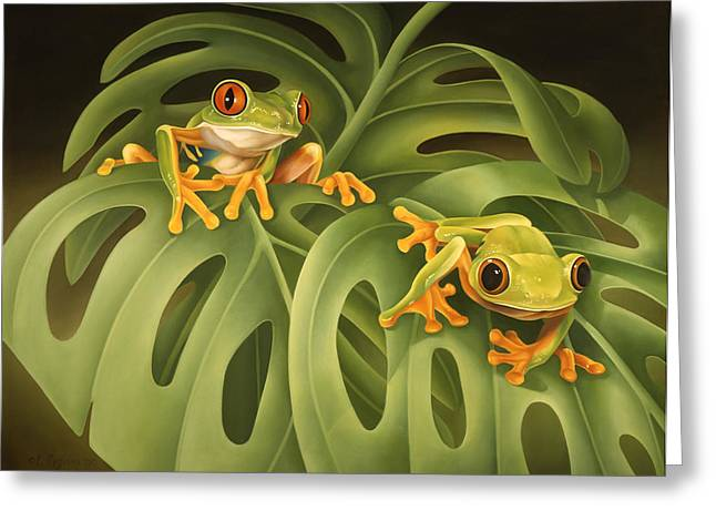 Tree Frogs Greeting Cards - On The Green Greeting Card by Laura Regan