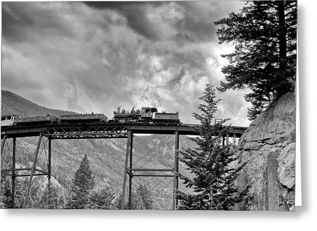 Train On Bridge Greeting Cards - On the High Bridge Greeting Card by Shelly Gunderson