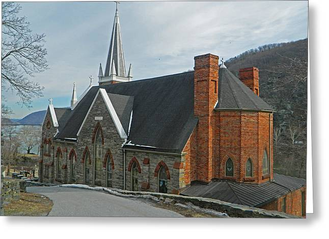 Winter Road Scenes Digital Greeting Cards - On The Hill - St. Peters Roman Catholic Church Greeting Card by Emmy Marie Vickers