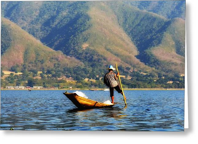 Myanmar Greeting Cards - On the Lake in Myanmar Greeting Card by Mountain Dreams