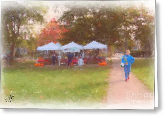 Buy Local Greeting Cards - On The Mall Brunswick Maine 1064 20141003 Greeting Card by Julie Knapp