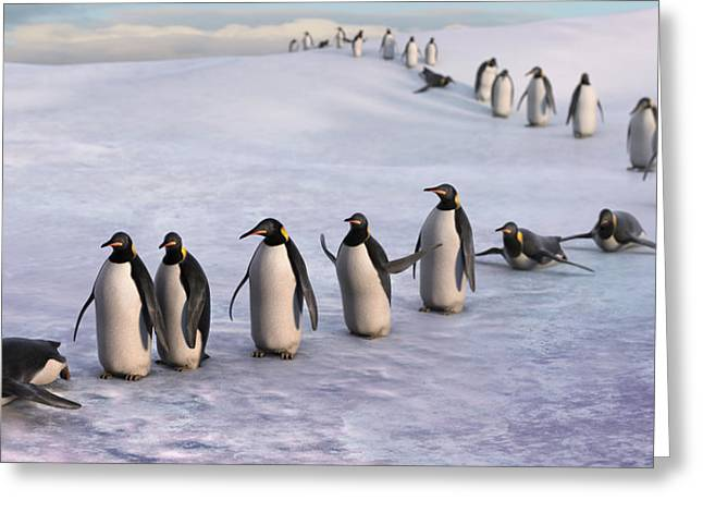 Penguins Greeting Cards - On the March Greeting Card by Gary Hanna
