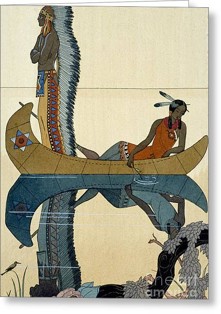 Indian Chief Greeting Cards - On the Missouri Greeting Card by Georges Barbier
