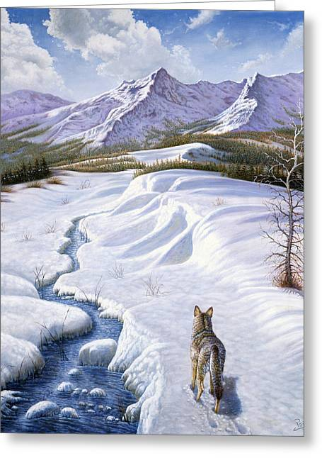 Wolves Digital Greeting Cards - On the Move Greeting Card by Gregory Perillo