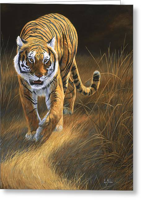 Tiger Greeting Cards - On The Move Greeting Card by Lucie Bilodeau