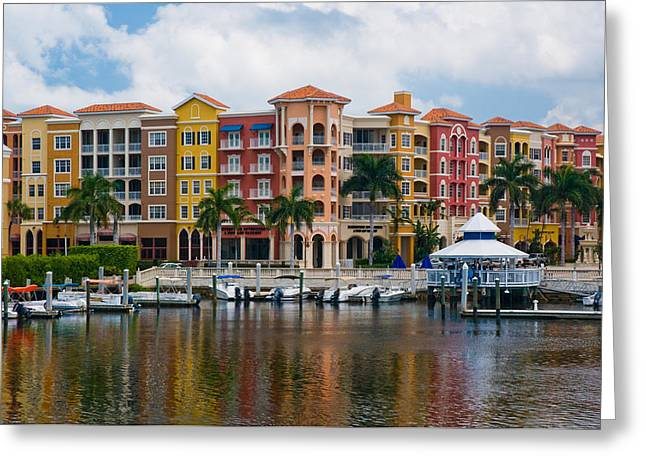 Boats At Dock Greeting Cards - Boats and Shopping on the  Naples Waterfront Greeting Card by Ginger Wakem