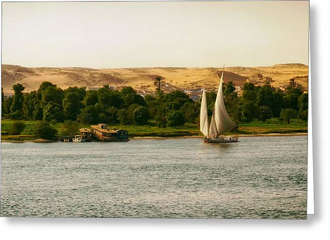 Sailboat Photos Greeting Cards - On the Nile Greeting Card by Mountain Dreams