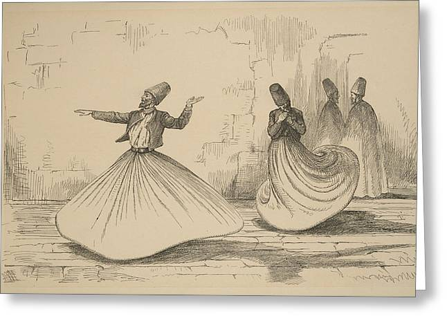 1874 Greeting Cards - On the Nile - Shebook in the Cabin - whirling dervish Greeting Card by Celestial Images