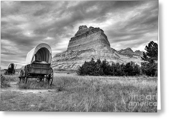 Wood Wheel Greeting Cards - On The Oregon Trail 2 BW Greeting Card by Mel Steinhauer
