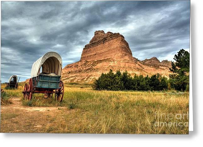 Wagon Wheels Greeting Cards - On The Oregon Trail 2 Greeting Card by Mel Steinhauer
