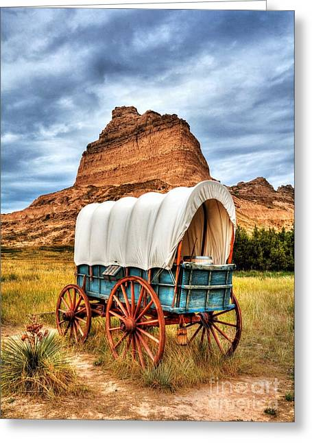 Wooden Wagons Greeting Cards - On The Oregon Trail 3 Greeting Card by Mel Steinhauer
