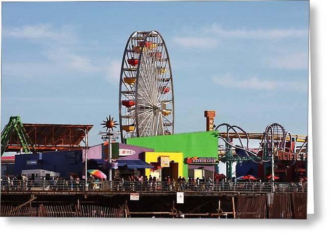 Amusements Greeting Cards - On the Pier Greeting Card by Art Block Collections